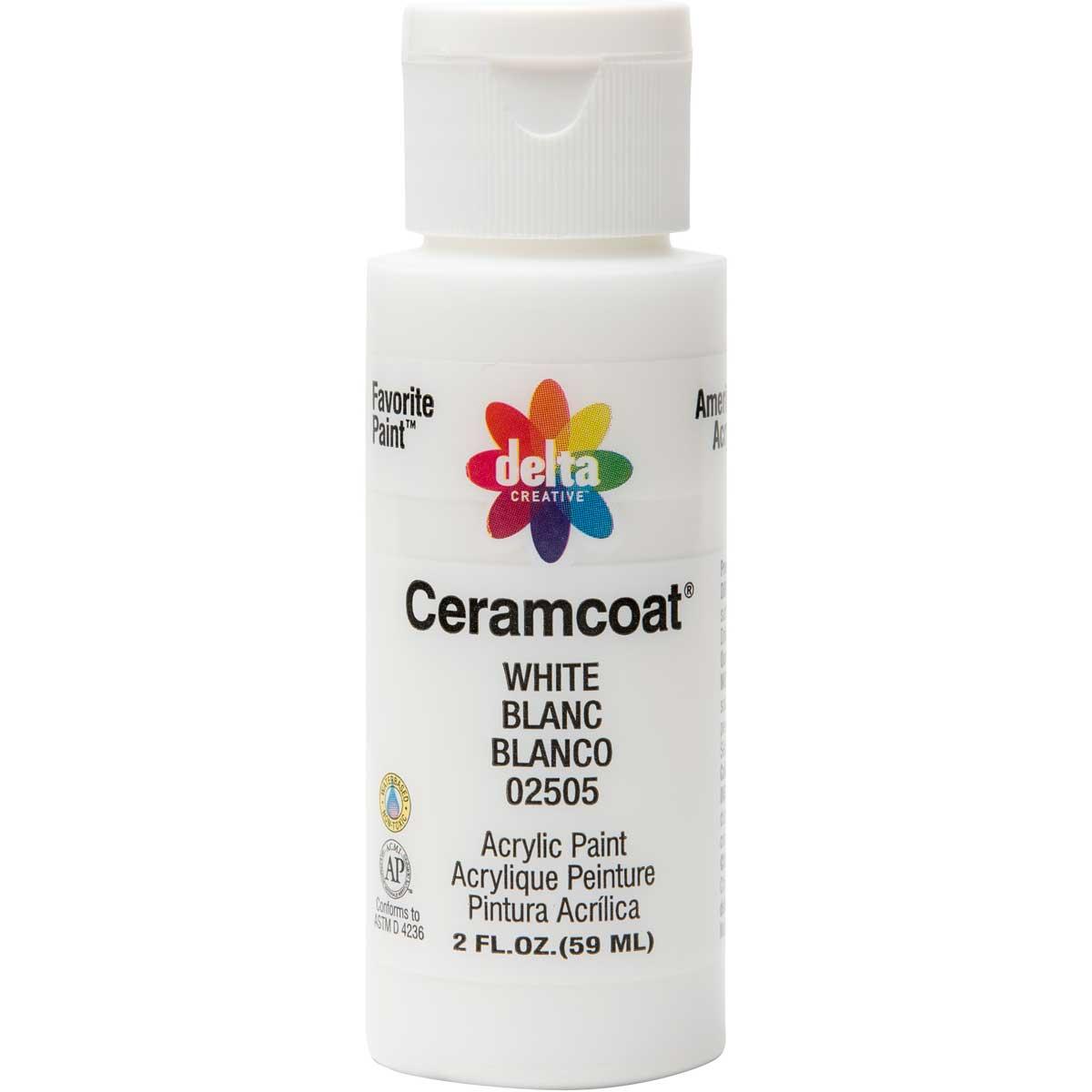 Delta Ceramcoat ® Acrylic Paint - White, 2 oz.