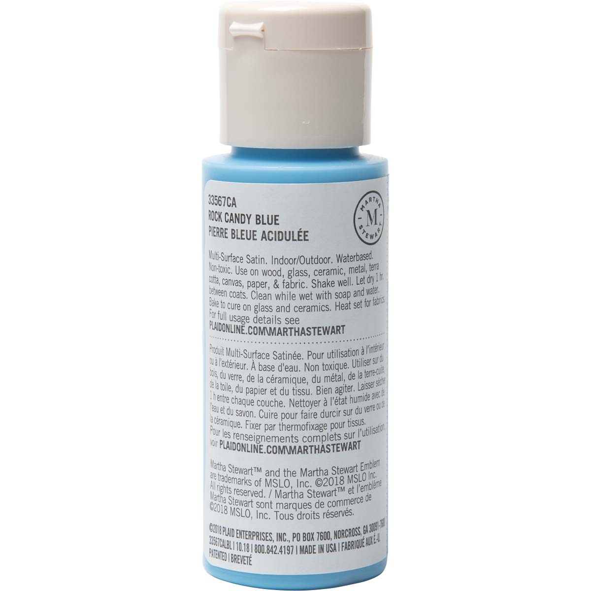 Martha Stewart ® Multi-Surface Satin Acrylic Craft Paint - Rock Candy Blue, 2 oz. - 33567CA