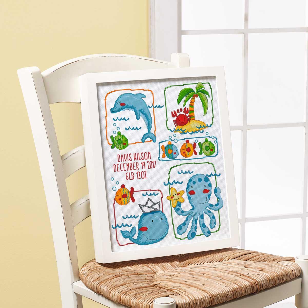 Bucilla ® Baby - Counted Cross Stitch - Crib Ensembles - Sea Life - Birth Record Kit - 47880E