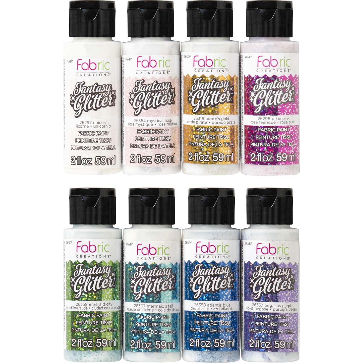 Fabric Creations™ Fantasy Glitter™ Fabric Paint Set Ultimate 8 color set