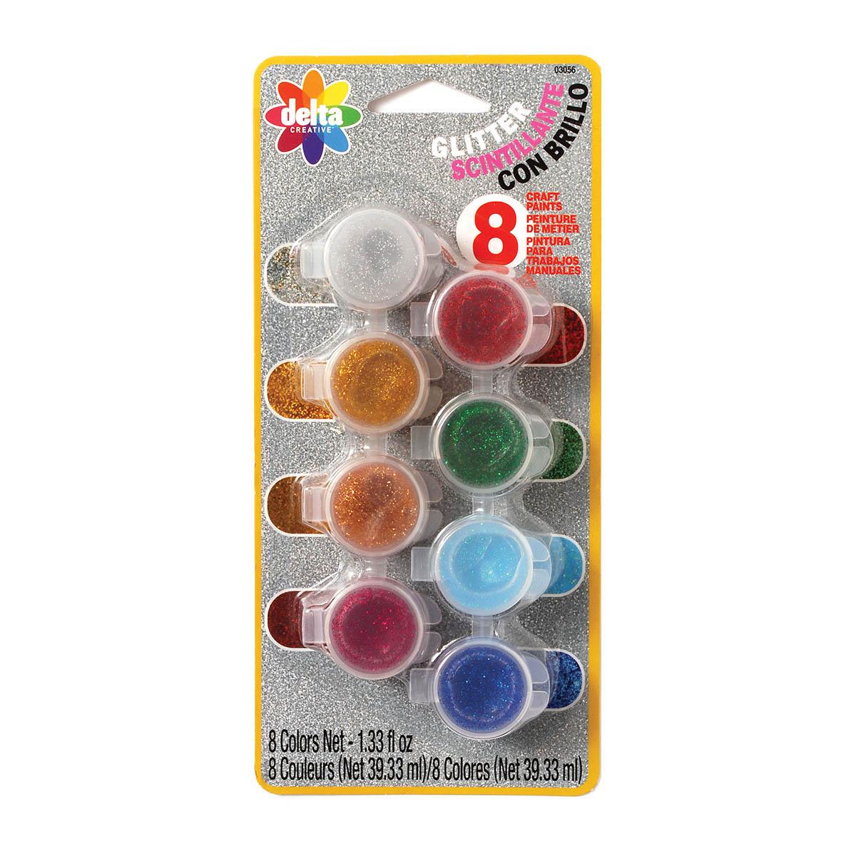Delta Acrylic Paint  Sets - Glitter, 8 Colors