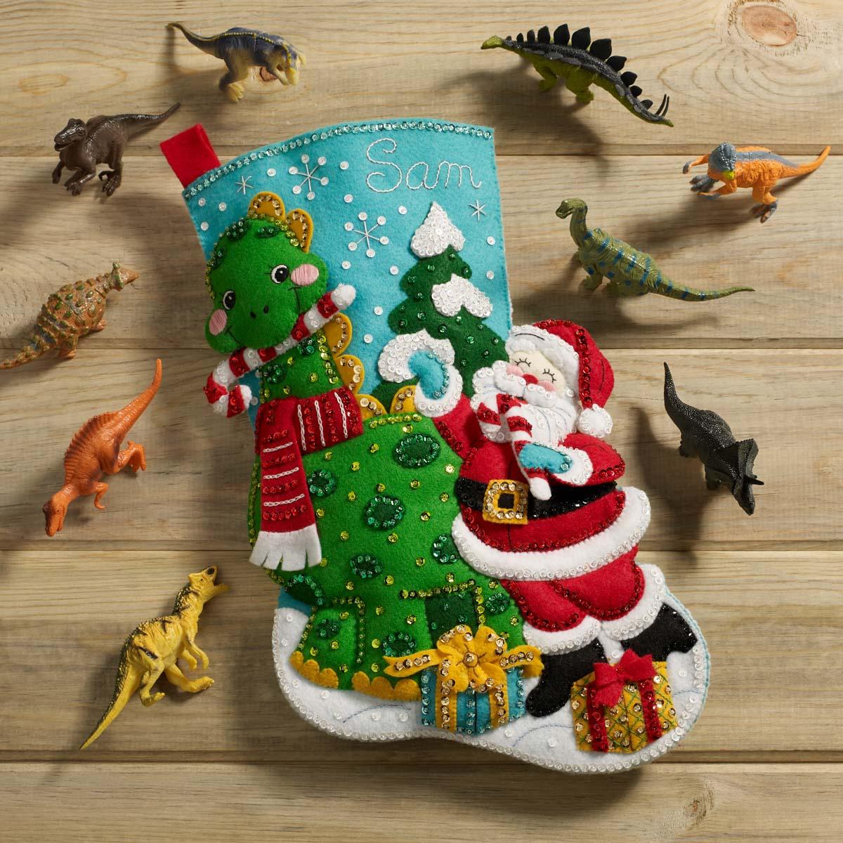 Bucilla ® Seasonal - Felt - Stocking Kits - Dino Santa - 89332E
