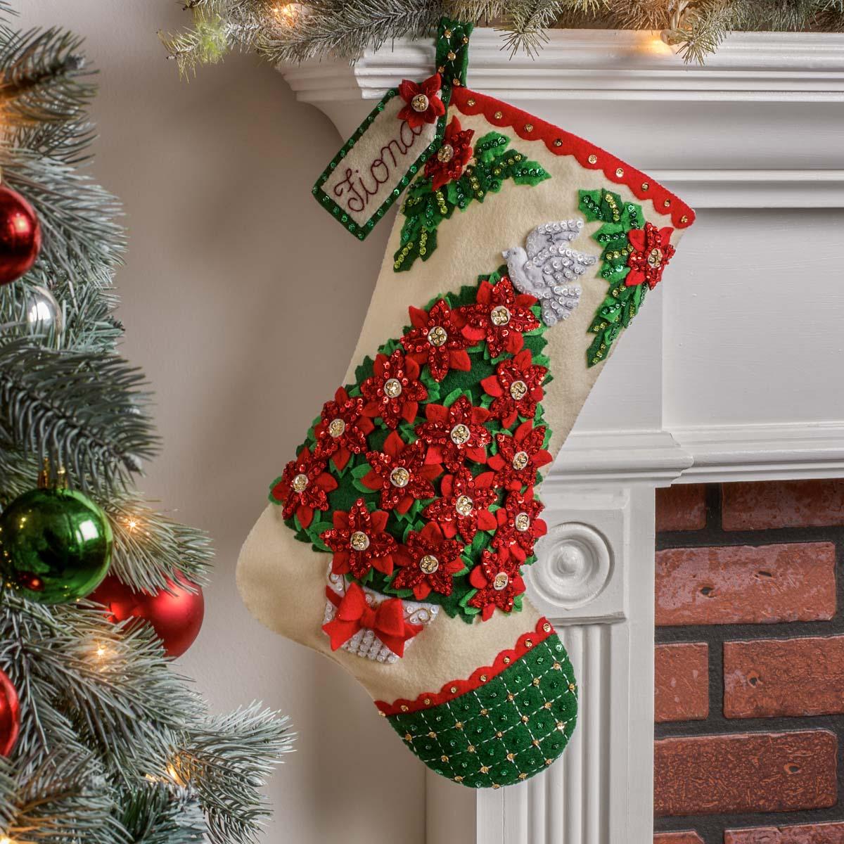 Bucilla ® Seasonal - Felt - Stocking Kits - Poinsettia Tree - 89252E