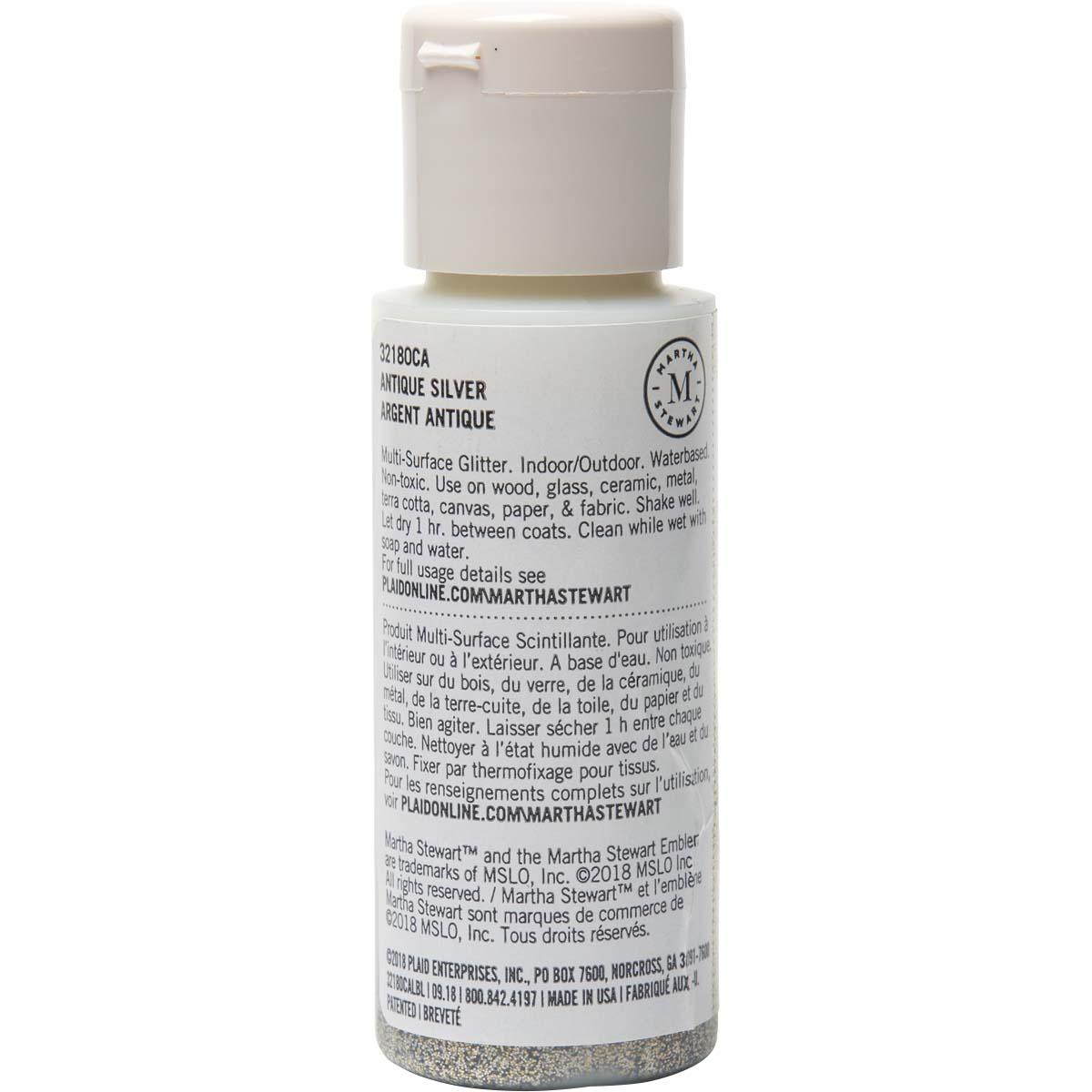 Martha Stewart ® Multi-Surface Glitter Acrylic Craft Paint - Antique Silver, 2 oz. - 32180CA