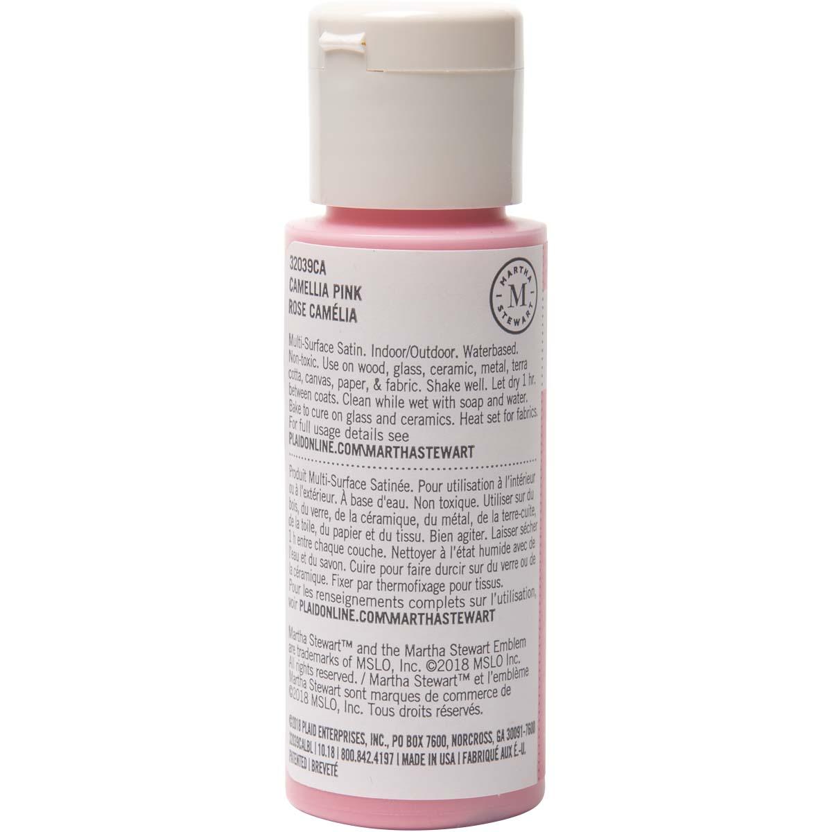 Martha Stewart ® Multi-Surface Satin Acrylic Craft Paint - Camellia Pink, 2 oz. - 32039CA