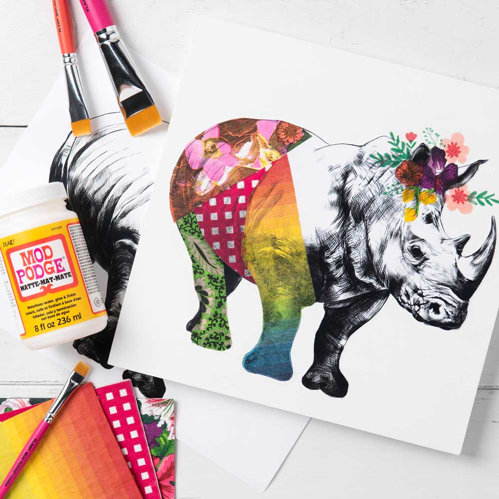 Napkin Decoupage Rhino Canvas