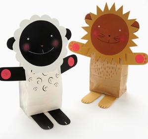 Lion and Lamb Stuffed Puppets