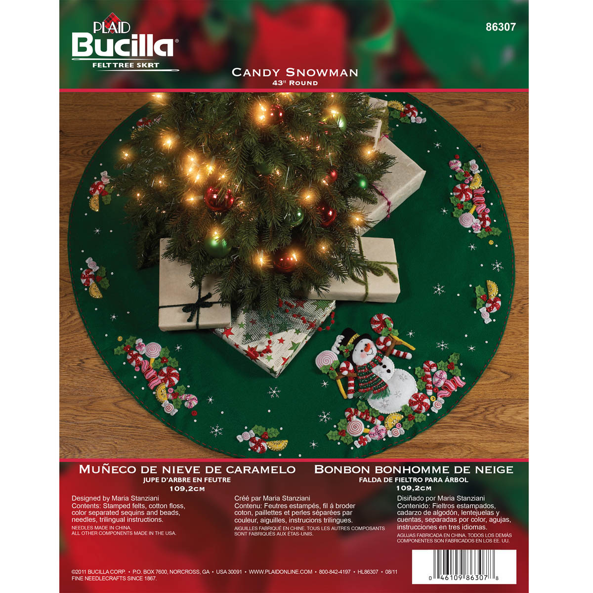 bucilla seasonal felt tree skirt kits candy snowman