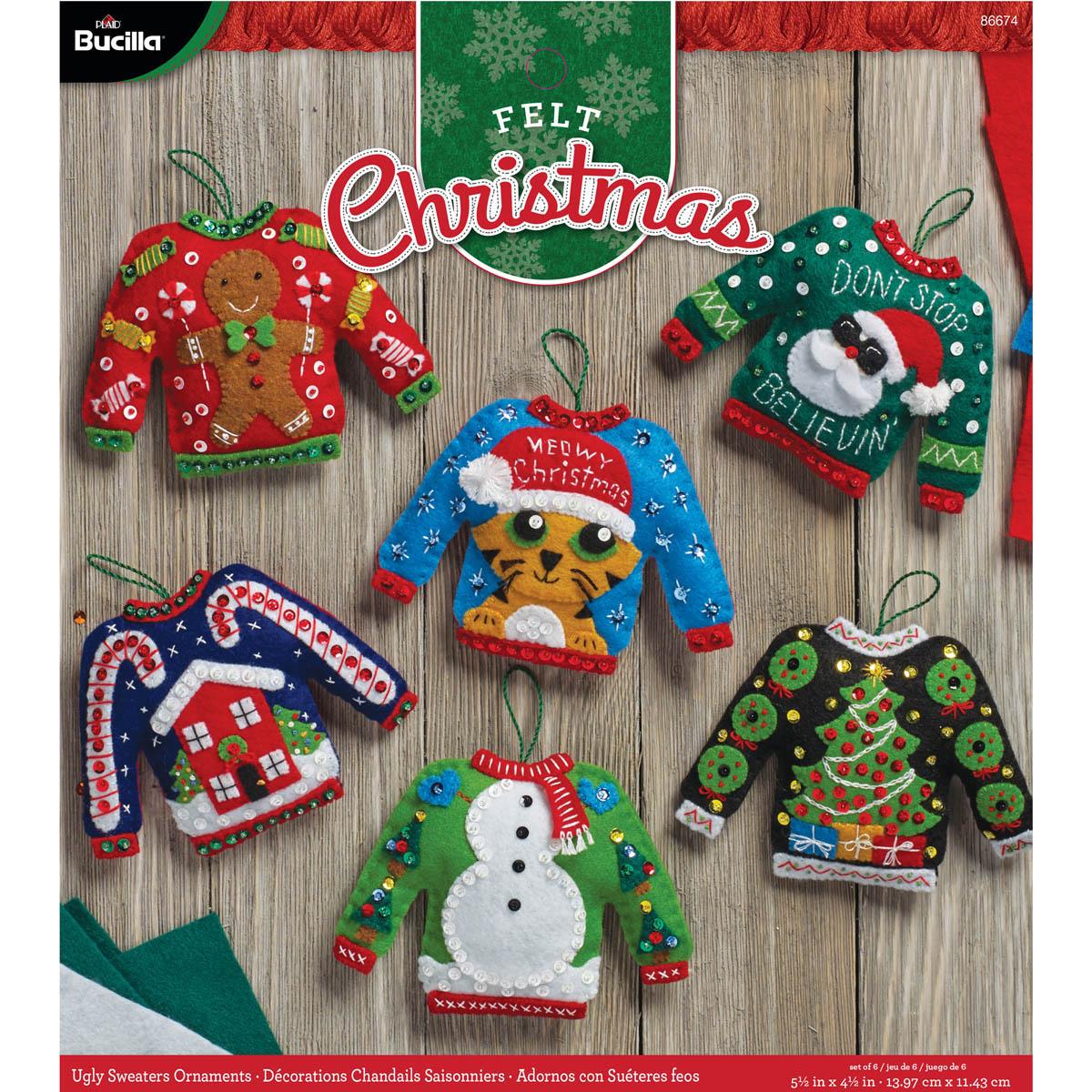 Bucilla ® Seasonal - Felt - Ornament Kits - Ugly Sweaters - 86674