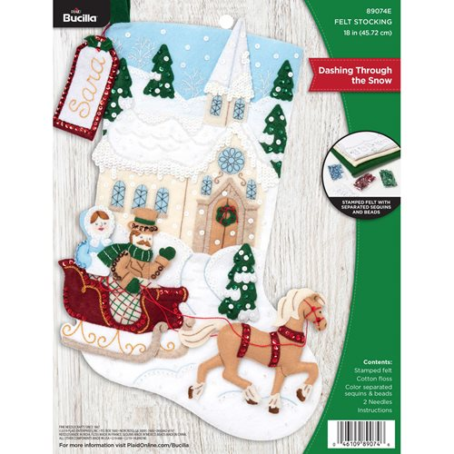 Bucilla ® Seasonal - Felt - Stocking Kits - Dashing Through the Snow - 89074E