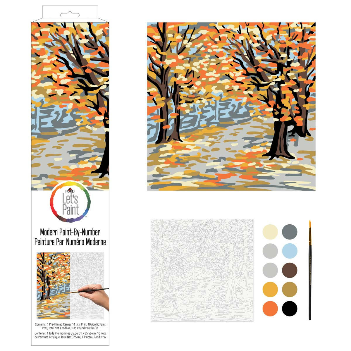 Plaid ® Let's Paint™ Modern Paint-by-Number - Fall Landscape - 17912
