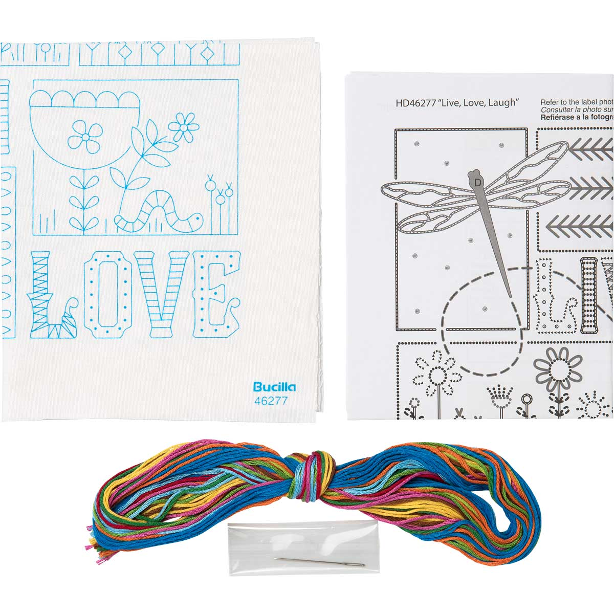 Bucilla ® Stamped Embroidery - Picture Kits - Live, Love, Laugh - WM46277E