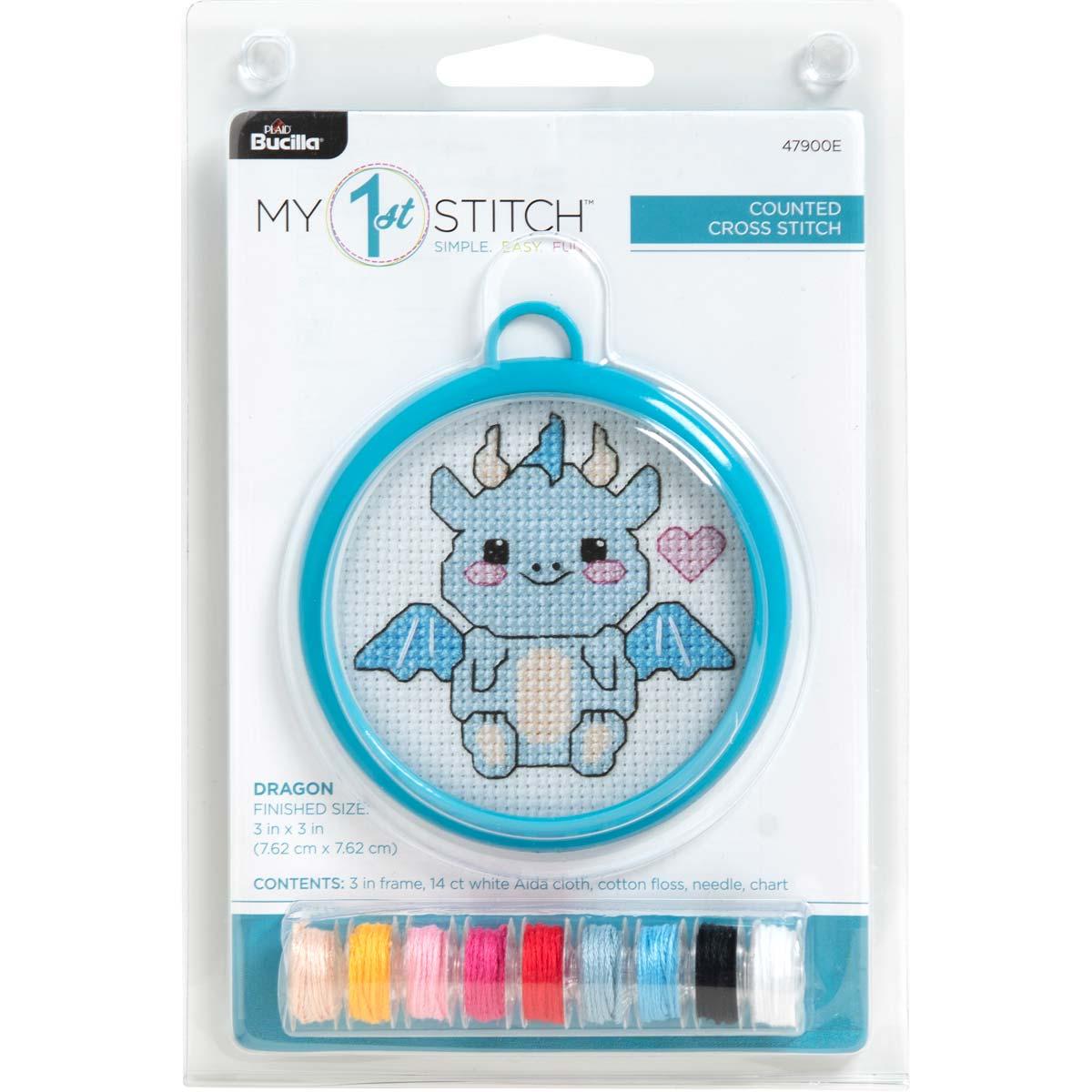 Bucilla ® My 1st Stitch™ - Counted Cross Stitch Kits - Mini - Dragon - 47900E