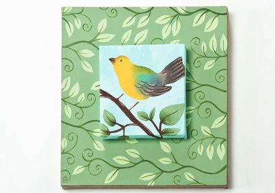 Bird with Vines Canvas Art