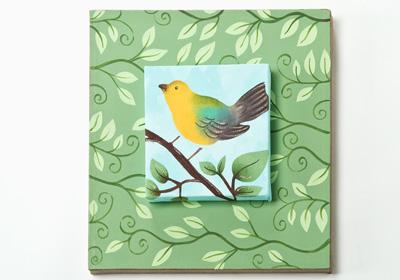 Bird with Vines Canvas Art
