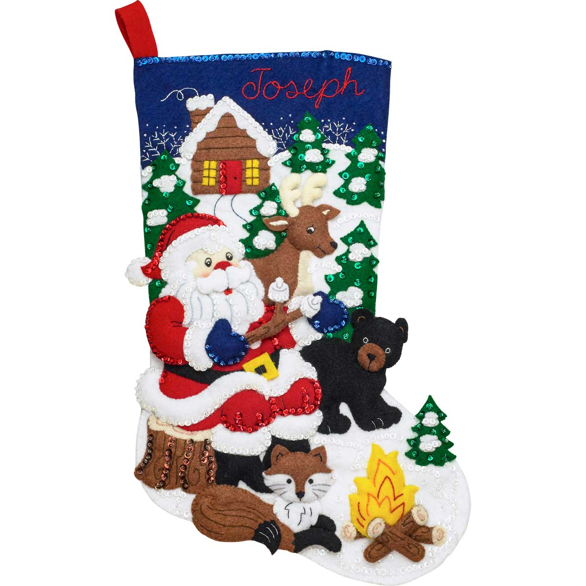 Bucilla ® Seasonal - Felt - Stocking Kits - Santa's Black Bear Cabin