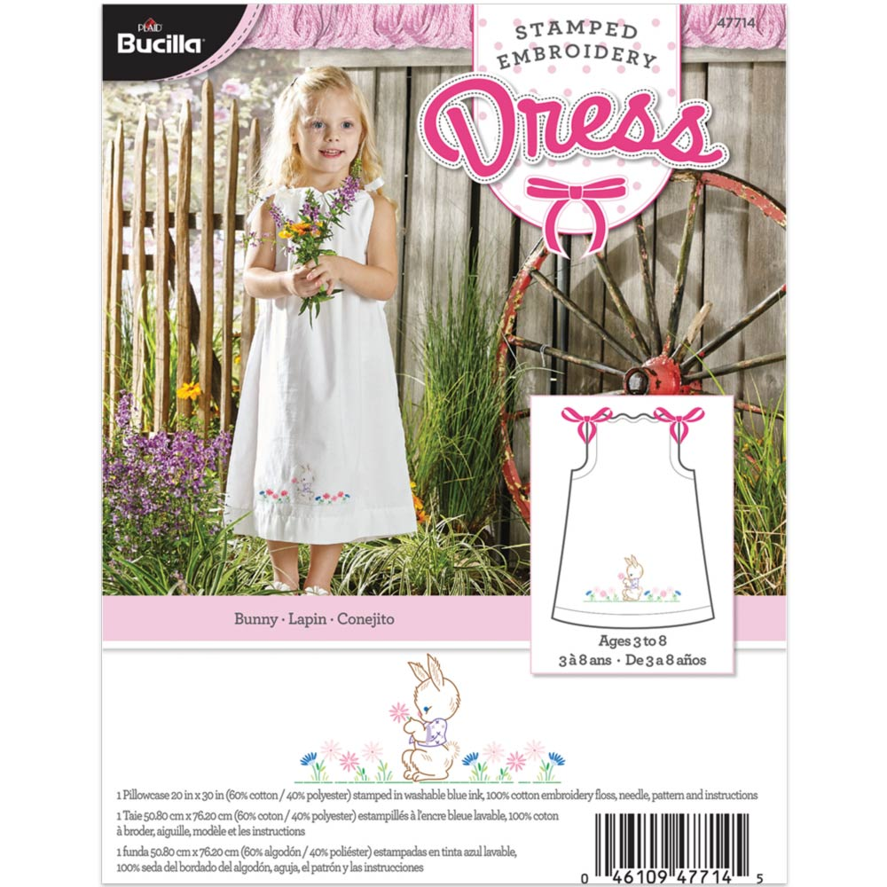 Bucilla ® Stamped Cross Stitch & Embroidery - Pillowcase Dress - Bunny - 47714