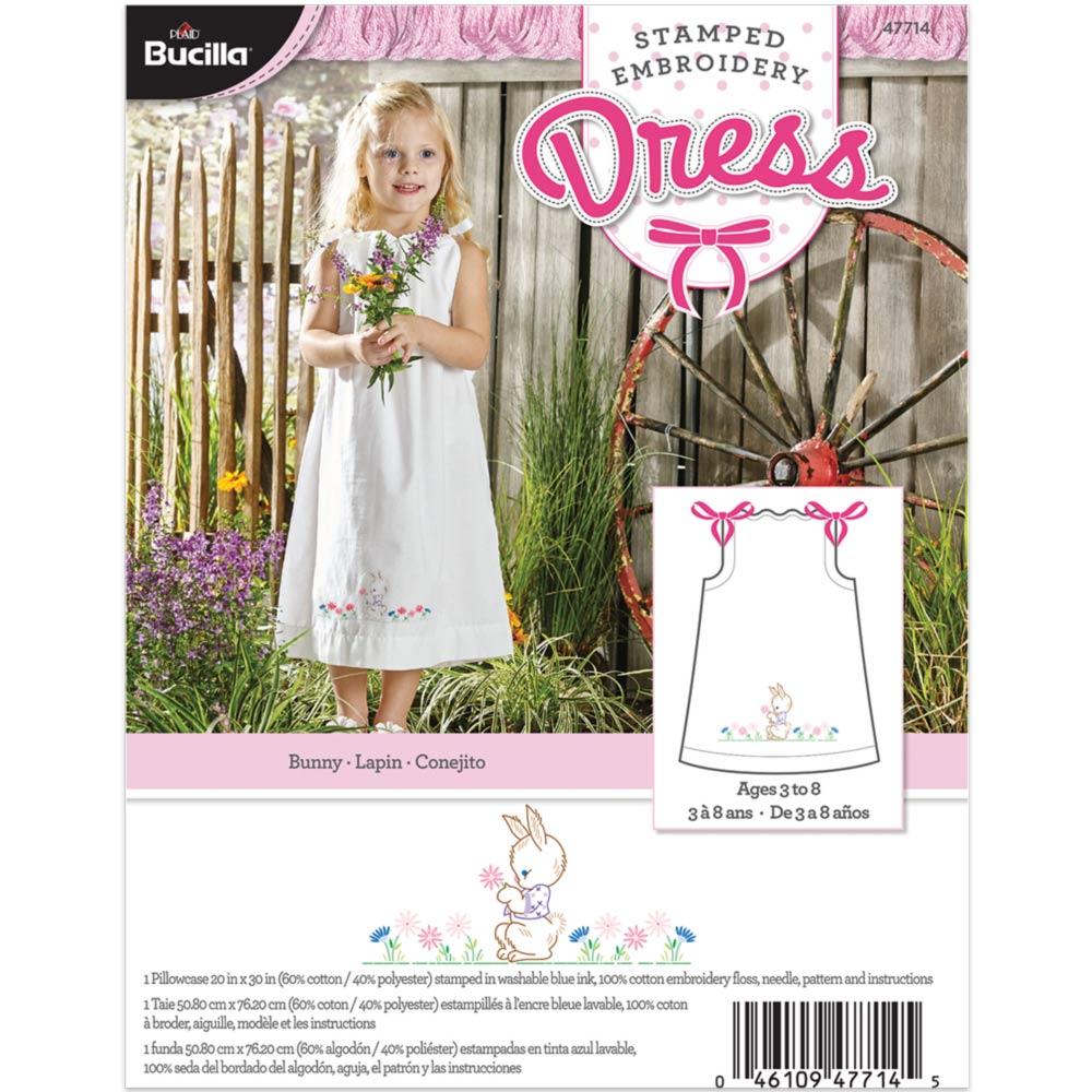 Bucilla ® Stamped Cross Stitch & Embroidery - Pillowcase Dress - Bunny