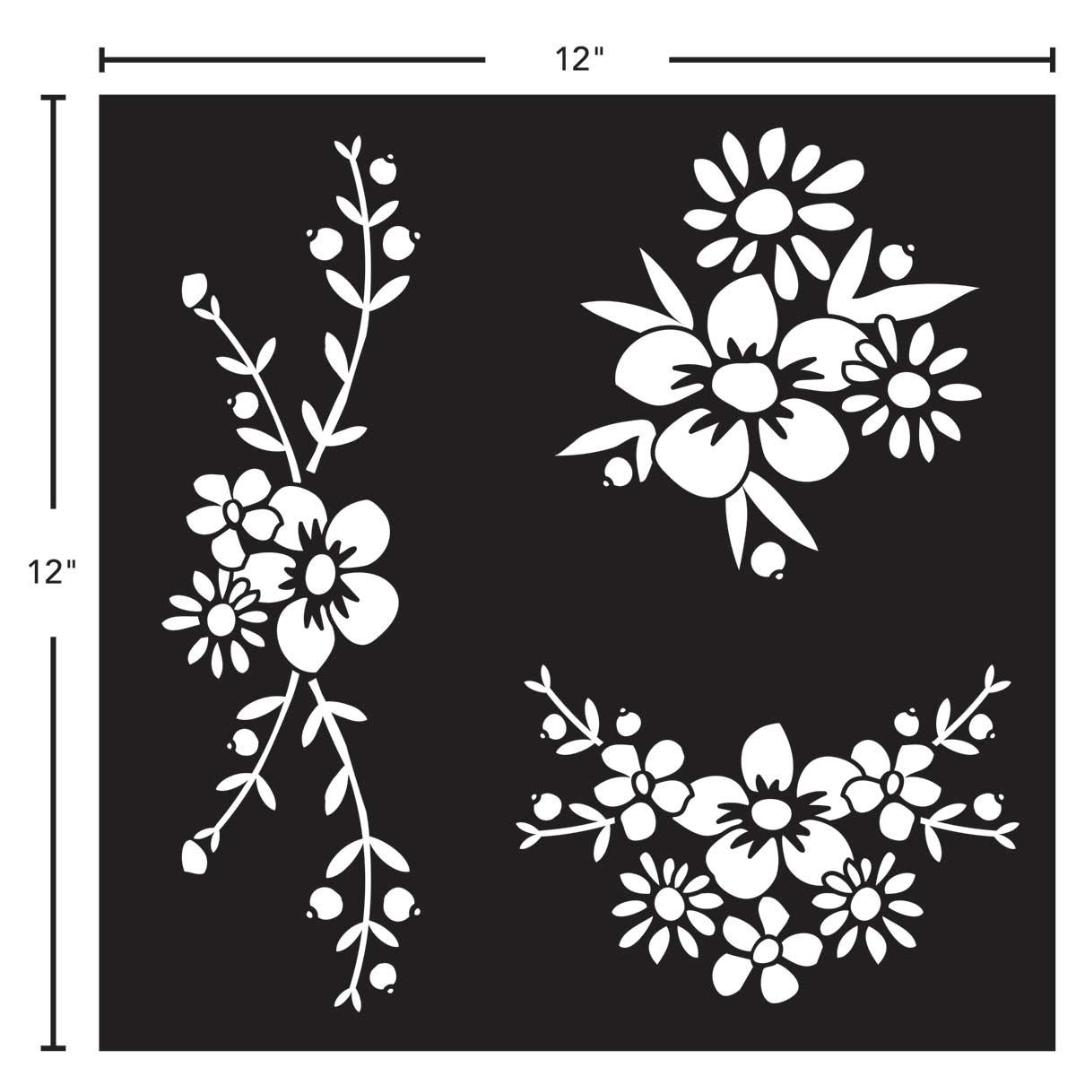 FolkArt ® Painting Stencils - Adhesive Laser - Floral Spray