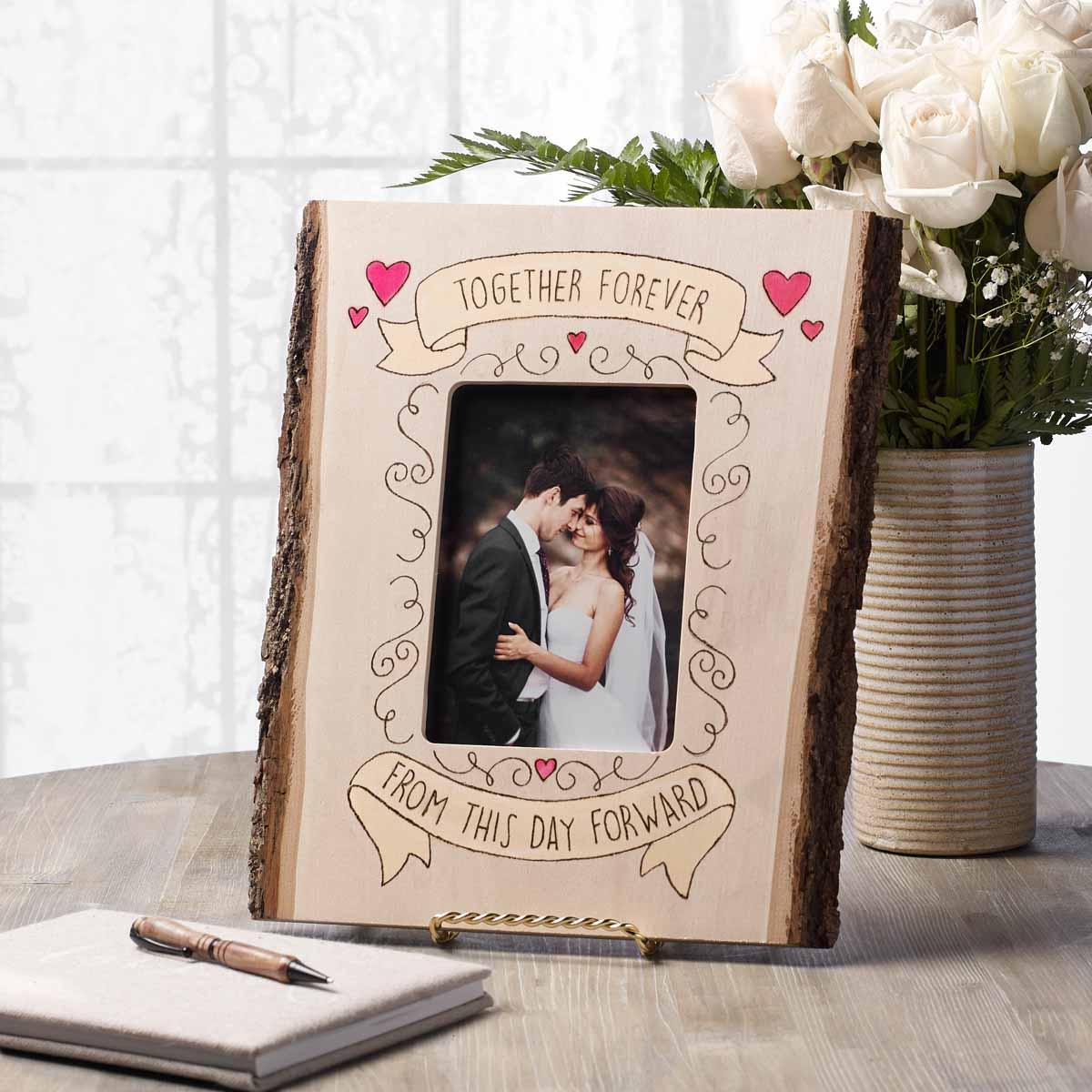 DIY Wood-Burned Wedding Frame