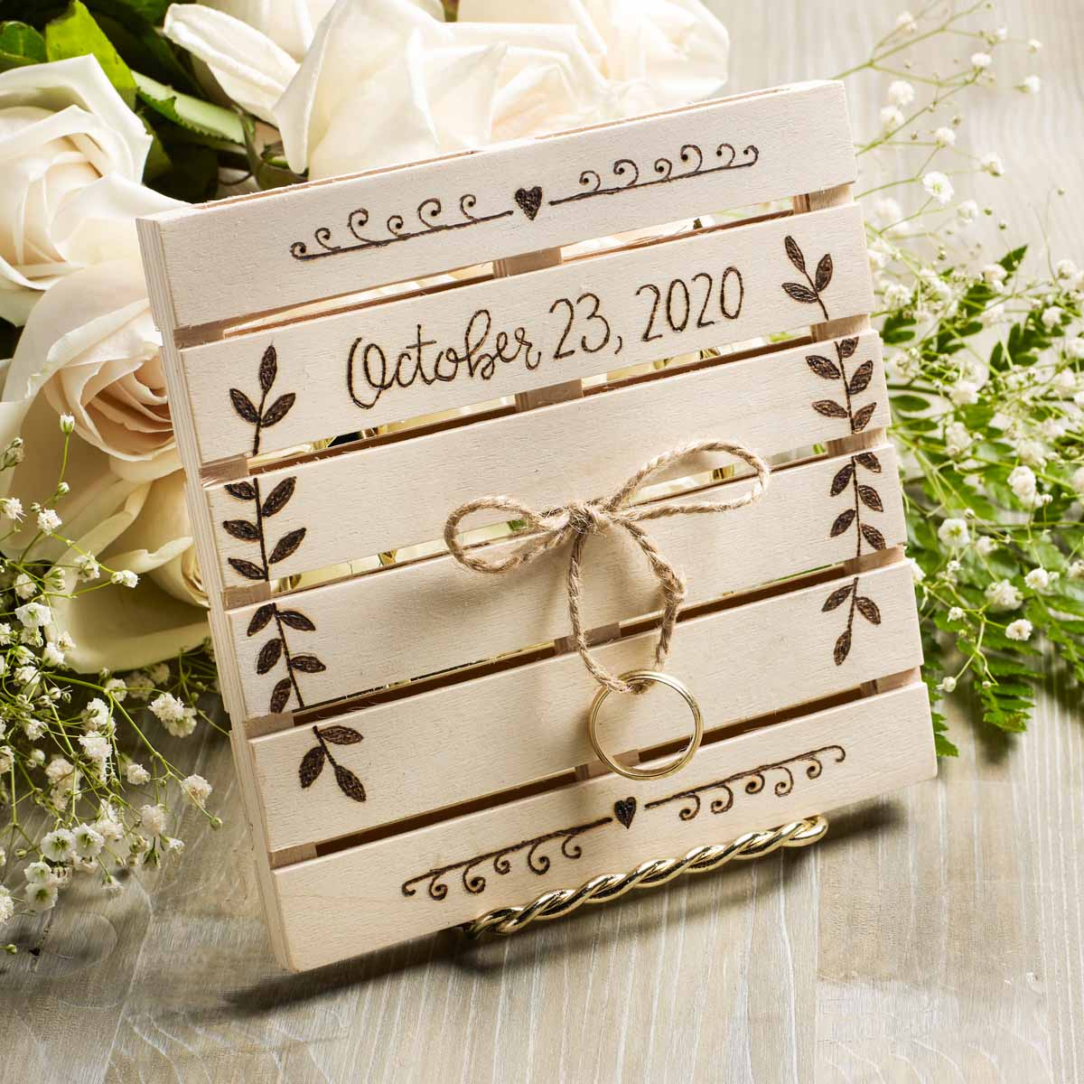 DIY Wood-Burned Wedding Ring Holder