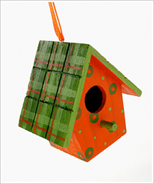 Plaid and Polka Dots Wood Birdhouse