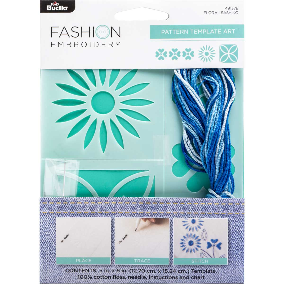 Bucilla ® Fashion Embroidery Kit - Shashiko Floral - 49137E