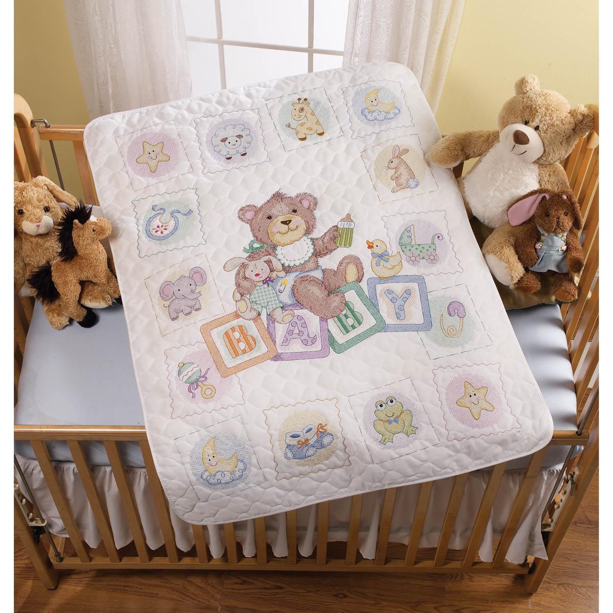 Bucilla ® Baby - Stamped Cross Stitch - Crib Ensembles - Baby Blocks - Crib Cover