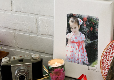 Valentine's Day Photo Canvas and Votive
