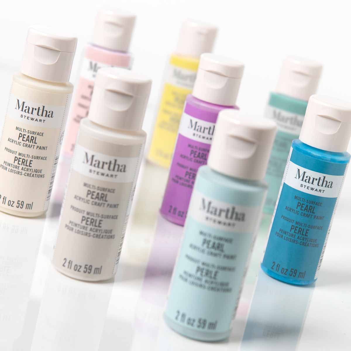 Martha Stewart ® Multi-Surface Pearl Acrylic Craft Paint 8-Color Best of Paint Set - MSORIGPRL8A