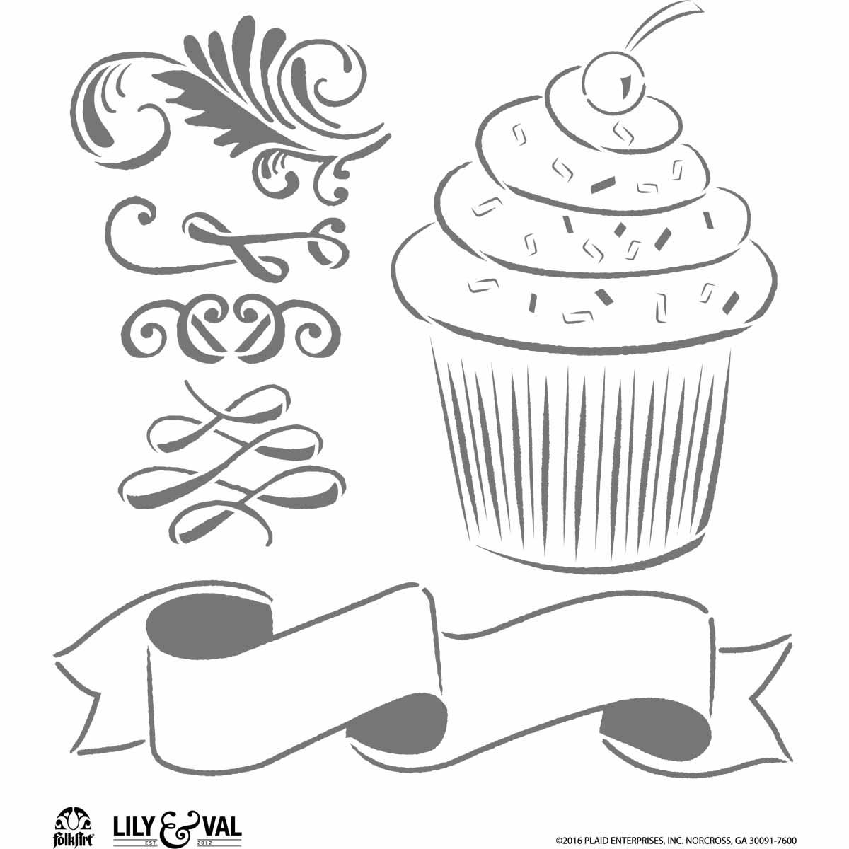 FolkArt ® Lily & Val™ Stencils - Variety Packs - Cupcake - 13250