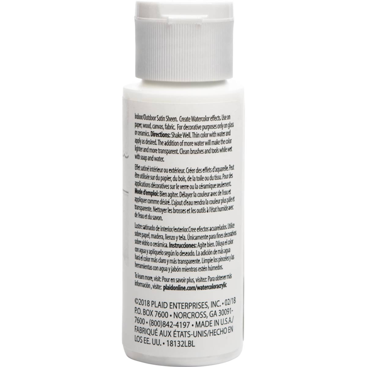 FolkArt ® Watercolor Acrylic Paint™ - White, 2 oz.