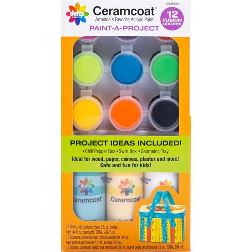 Delta Ceramcoat ® Paint-A-Project - Fusion, 12 Colors - 028880056