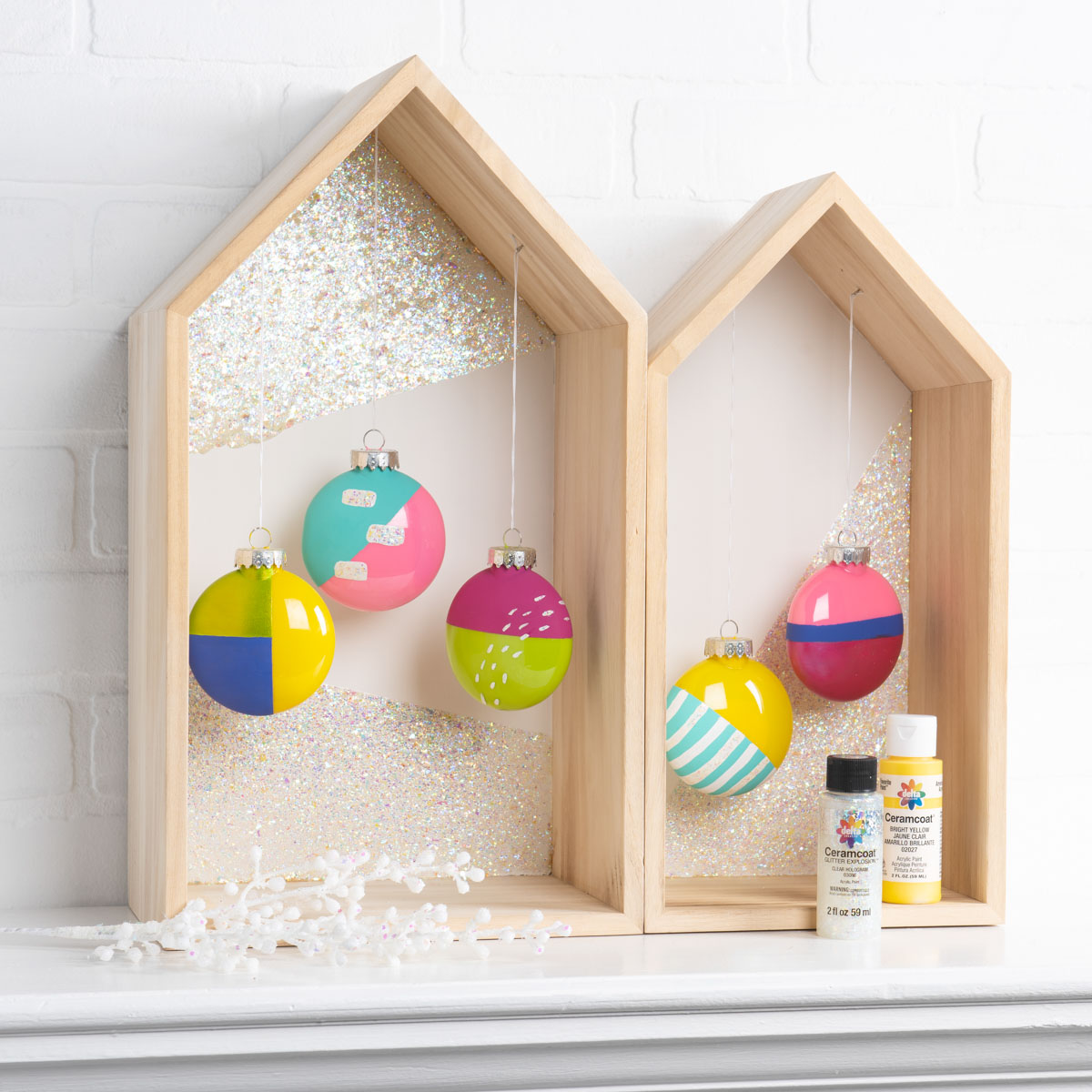 Delta Ornaments and Glitter Explosion Houses