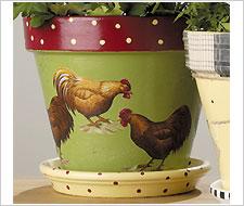 Rooster Flower Pots