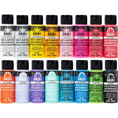 FolkArt ® Multi-Surface Satin Acrylic Paint 16 Color Set - Brights - PROMOMSB16