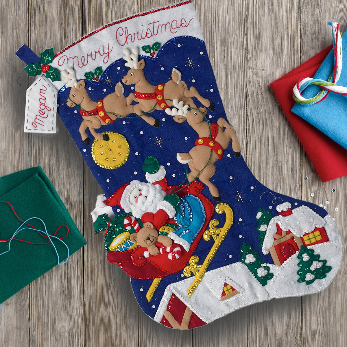 Bucilla ® Seasonal - Felt - Stocking Kits - Christmas Night Jumbo Stocking
