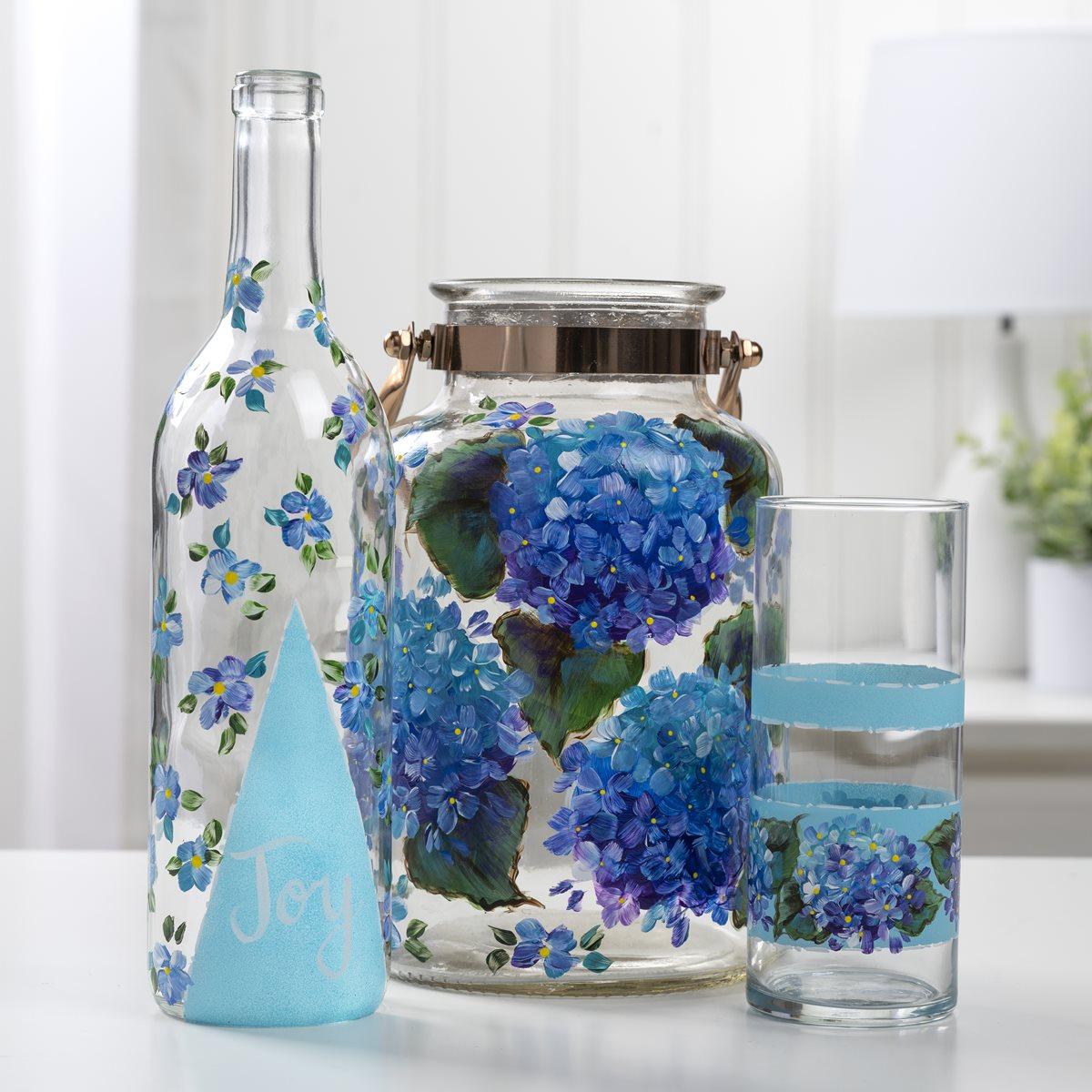 Painted Glassware Hydrangea Trio