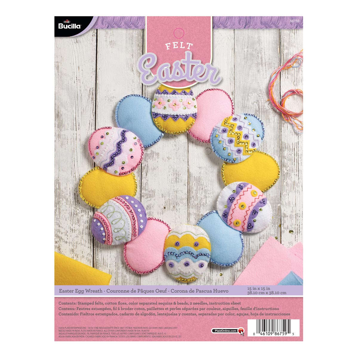 Bucilla ® Seasonal - Felt - Home Decor - Easter Eggs Wreath - 86759