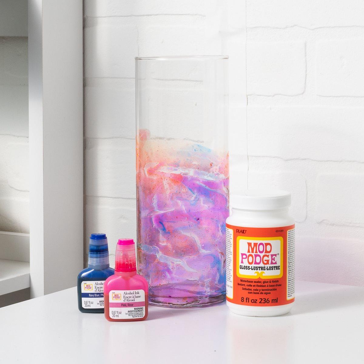 Alcohol Inks and Mod Podge Vase