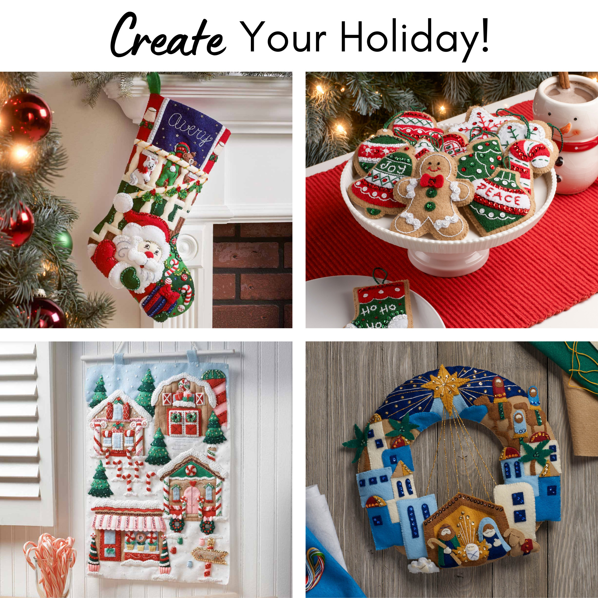 Bucilla ® Seasonal - Felt - Stocking Pockets - Candy Cane - 89442E