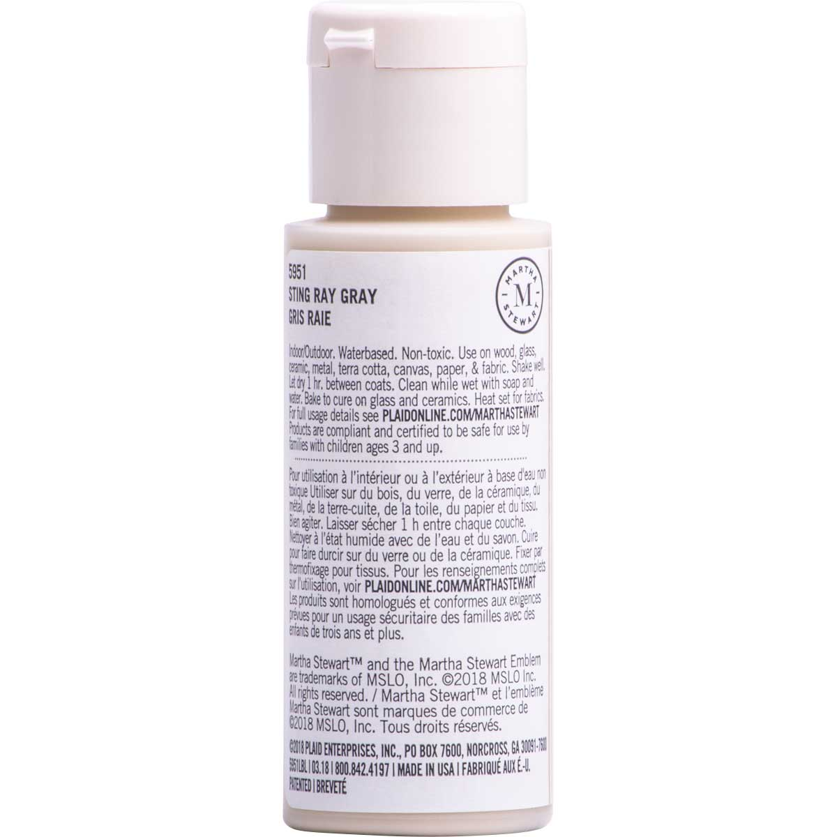 Martha Stewart ® Multi-Surface Satin Acrylic Craft Paint CPSIA - Sting Ray Gray, 2 oz. - 5951