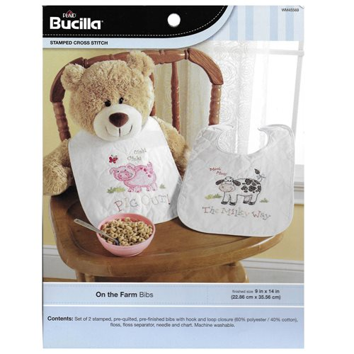 Bucilla ® Baby - Stamped Cross Stitch - Crib Ensembles - On the Farm - Bib Pair Kit