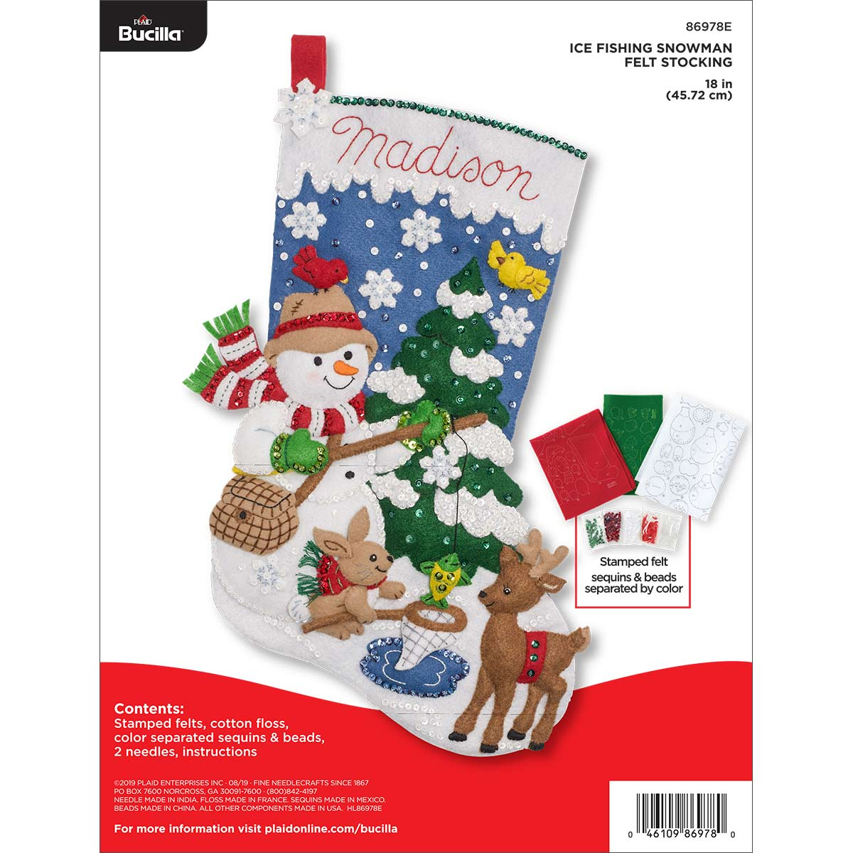Shop Plaid Bucilla Seasonal Felt Stocking Kits Ice Fishing Snowman 86978e 86978e Plaid Online