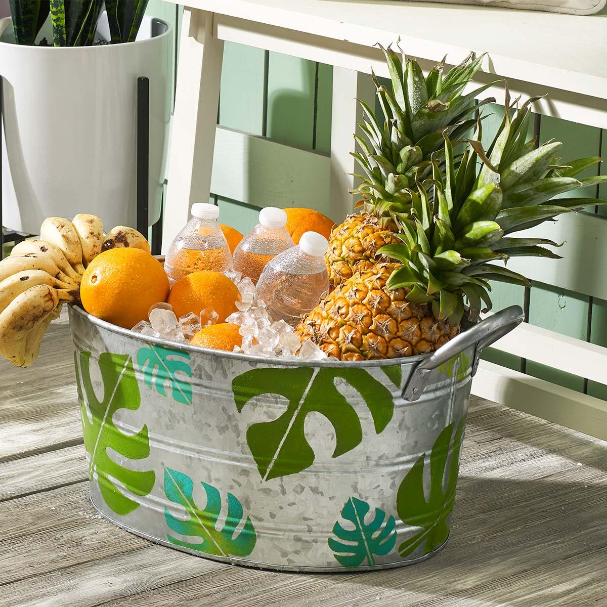 BoHo Palm Leaf Tin Bucket