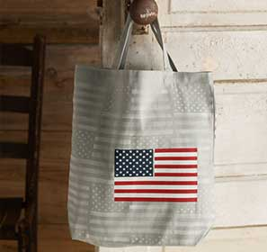 Flag Stenciled Canvas Bag