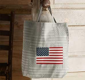 Flag Stenciled Canvas Bag