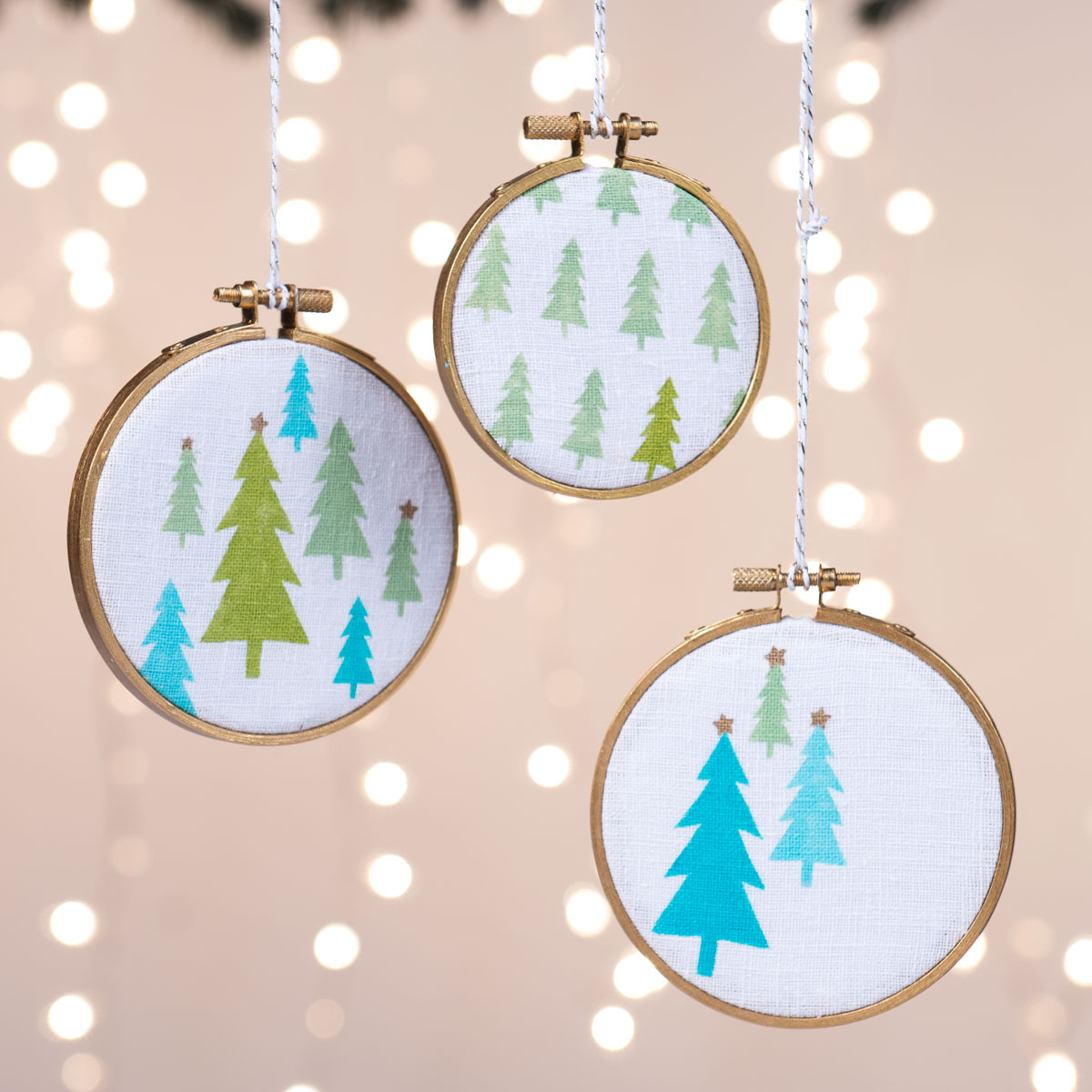 Painted Christmas Tree Hoop Ornaments