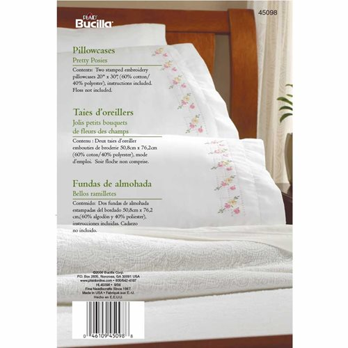 Bucilla ® Stamped Cross Stitch & Embroidery - Pillowcase Pairs - Pretty Posies - 45098