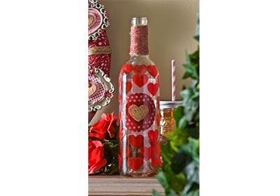 Mod Podge Valentine's Day Wine Bottle